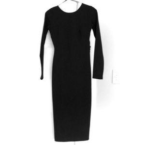 Open black, slim fit midi long sleeve dress